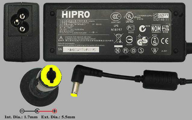 Adaptor ACER 19V 3.42A HIPRO - Black original