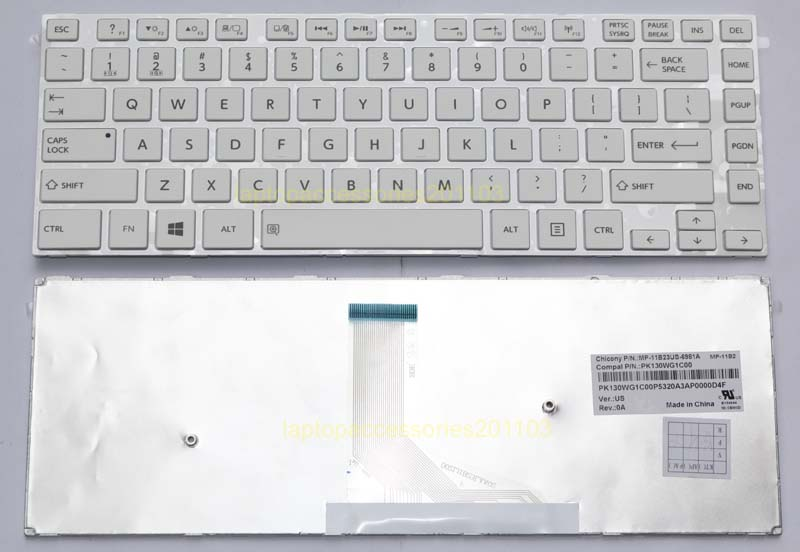Keyboard Toshiba Satellite L40, L40-A, C40, C40-A, C45, C45-A, L45, L45-A, S40, S40-A Series / MP-11B23US-6981A (White)